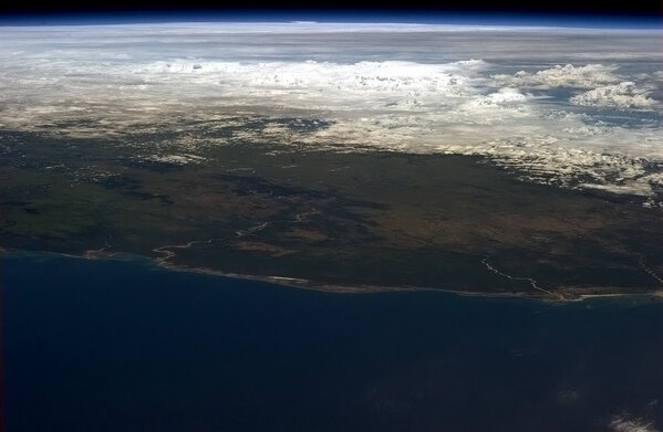 colchrishadfield:  Looking across Madagascar to Cyclone Felleng on the horizon.  i'm in awe