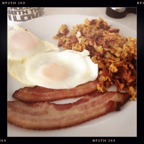 Minerva Damage's BDB:  coffee, sweet potato hash, basted eggs, applewood thick cut bacon, drizzled with hot cock sauce (aka sriracha) and maple syrup.