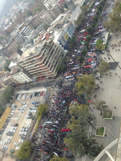 The Chilean Student Movement lives: 150,000 people are currently marching throughout Santiago, Chile in the continued struggle against the privatization of the higher education system & the fight to provide quality, affordable education in lower income areas.