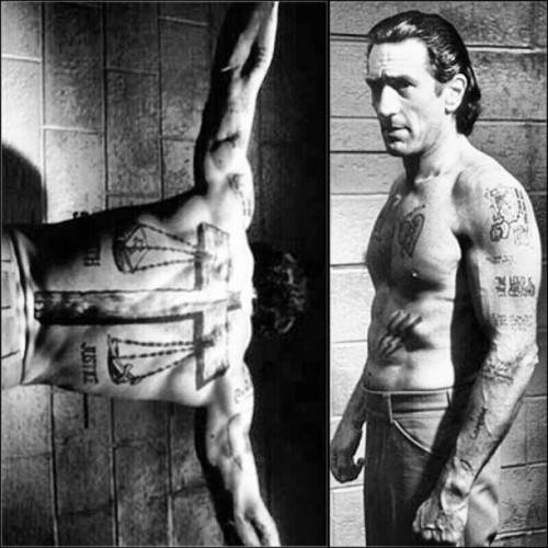 ironwilled:  Robert De Niro's Penitentiary Workout to prepare for Cape Fear: De Niro went through extremely high repetition workouts that used exercises that mimicked what a real prisoner would have access to in prison. The 48-year old actor plummeted his body fat percentage to a scant four percent through hundreds of bodyweight repetitions. After the fitness preparations for the Cape Fear movie concluded, personal trainer Dan Harvey was amazed at the actor's extreme focus all throughout the training program. De Niro's program involved all body weight exercises just as a real prisoner would most likely perform while in jail. Body weight exercises like dips, chin-ups, pull-ups, and push-ups were used in addition to performing 600 crunches a day which sculpted the actor's abdominals and gave him a total body muscle building workout. Training days were split into pushing and pulling days. This meant one day was designated for pushing movements like push-ups, dips, and squats and the other training day set aside for pulling exercises like pull-ups and chin-ups. #RobertDeNiro #CapeFear #ripped #convict #prison #workout #penitentiary