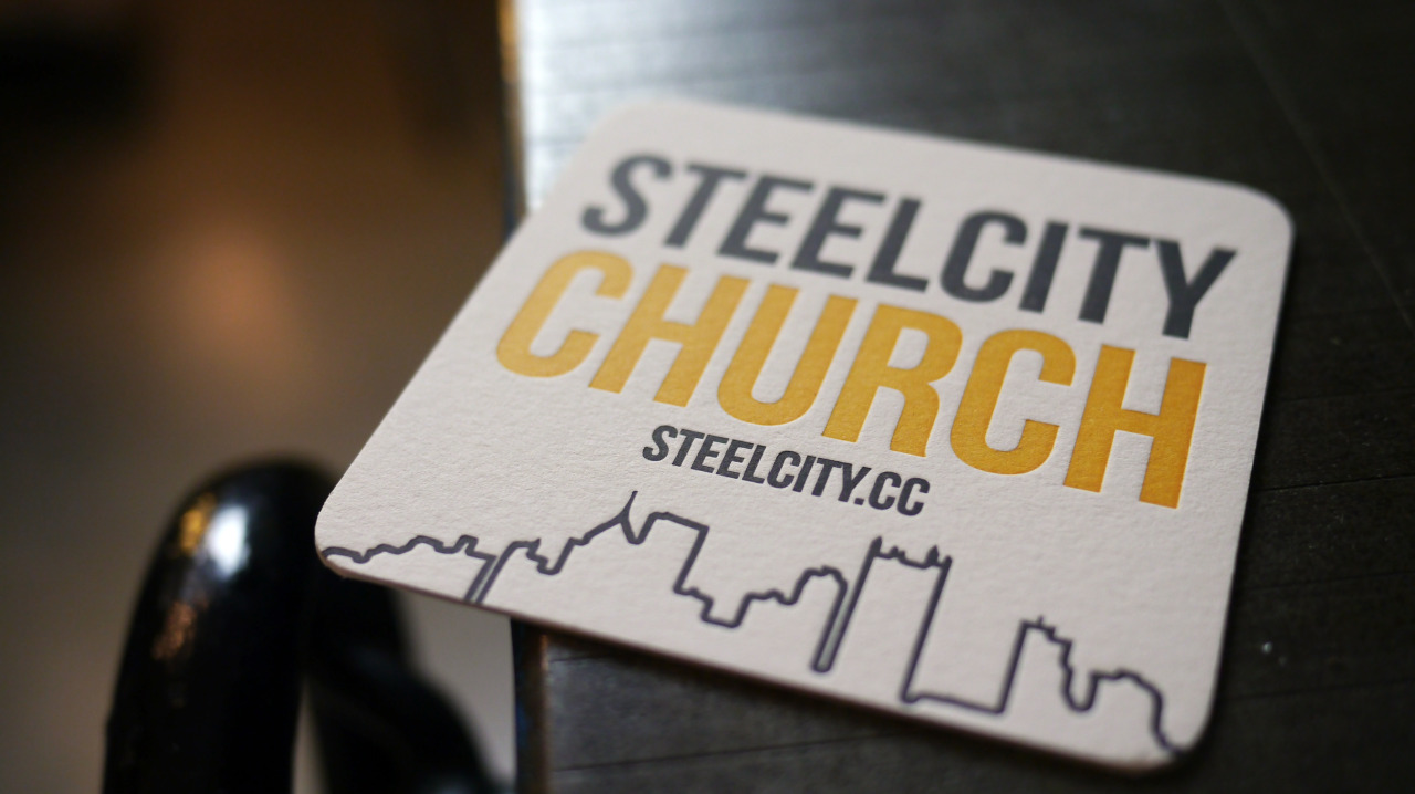 Two color coasters on 220lb Crane Lettra for Steel City Church.