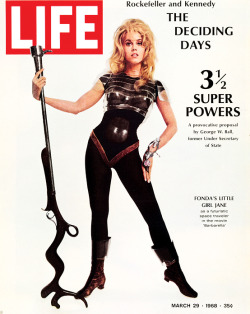 life:  On this day in LIFE — March 29, 1968: Fonda's little girl Jane as a futuristic space traveler in the movie 'Barbarella' See photos from this issue here.