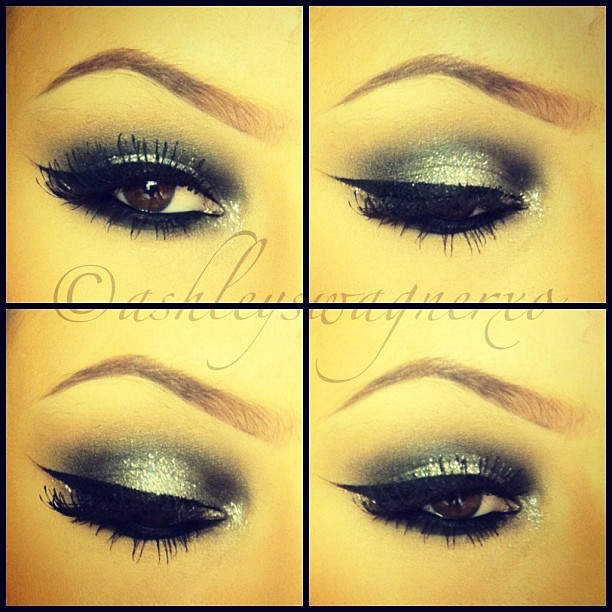 New Years Eve Makeup✨ #makeup #makeupporn #makeupwhore #makeupartist #mua #glitter #loreleicakes #chrisspy #vegas_nay #ashleyswagner #makeuphoneys #makeupjunkies #maccosmetics #inglotcosmetics #browneyes #smokeyeyes #eyeliner #eyelashes #black #silver #gold #love #ilovemaciggirls #happynewyear #newyears