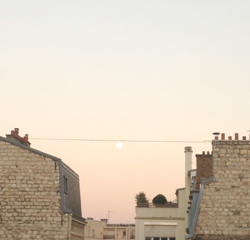 Moon rise in Paris via http://instagram.com/luciledemory#