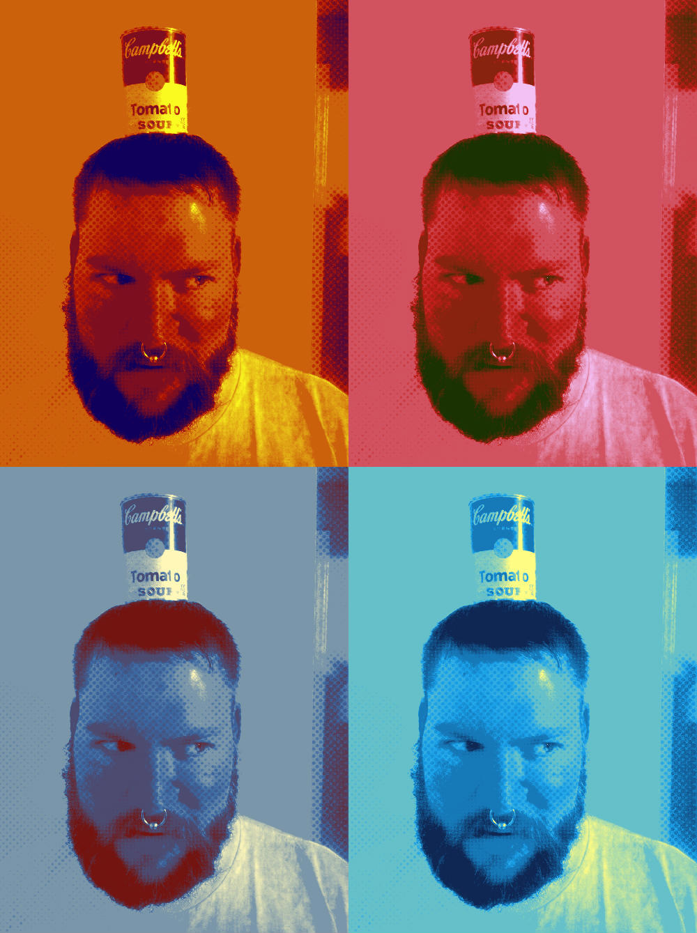 andyshead:  Andy is Warhol-ing it with a soup can on his head.  This is the best post on any internet anywhere.