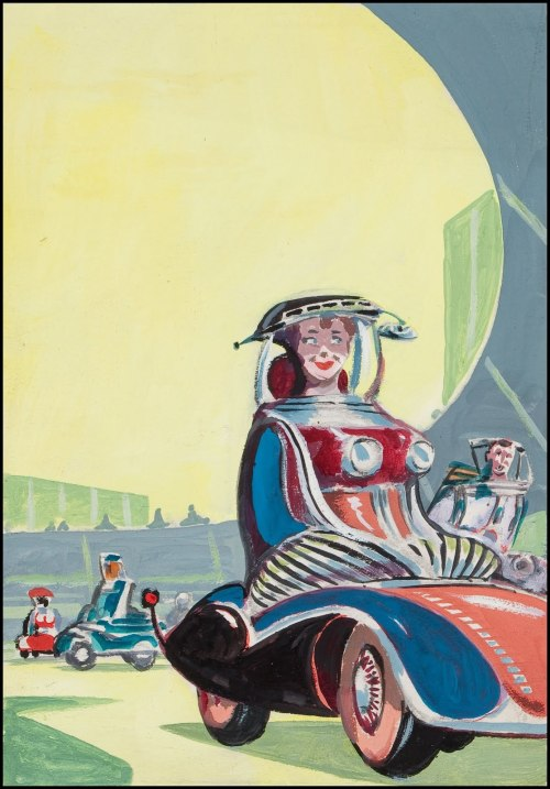 "(via Fantasy Ink: Emshwiller Preliminaries)   Ed ""Emsh"" Emshwiller was a prolific painter of science fiction digest and paperback book covers during the 1950's and 60's. Here's some of his preliminary paintings for those covers. There a good bio and some more examples of his work here."