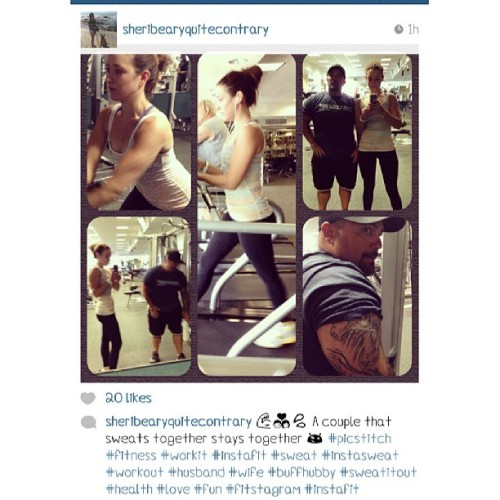 @sheribearyquitecontrary Making her big sister so proud one rep at a time. Isn't my sister soo cute. And oh yeah buff dude that you means business is my brother in law. I loved this post too much not to share. #workoutwednesday #sharing #proud #sister #brotherinlaw #buff #muscles #strong #workingit #gymtime #fitspiration #loveit #instafit #instasweat #socal #inspiration #fitfam #wednesday #workout #sharingiscaring
