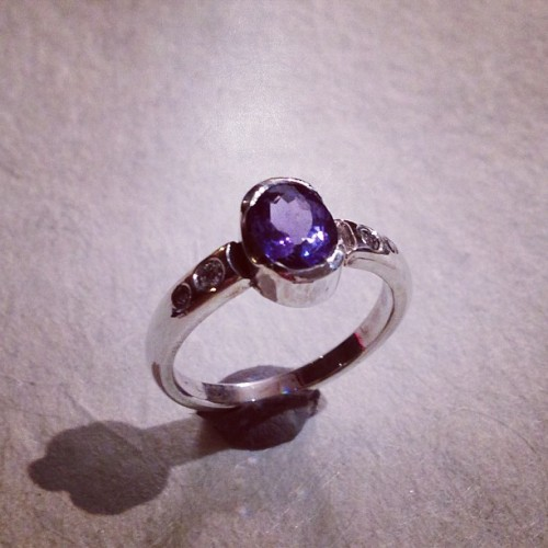0.81carat Tanzanite with .08tcw vs1 diamonds engagement ring.  (at Ken Claude Lambert Jewelry)