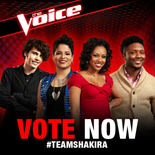 nbcthevoice:  Vote now to keep your favorites from Team Shakira in the competition! http://www.nbc.com/the-voice/vote All the toll-free numbers for the artists can be found here: http://www.nbc.com/the-voice/vote/methods/