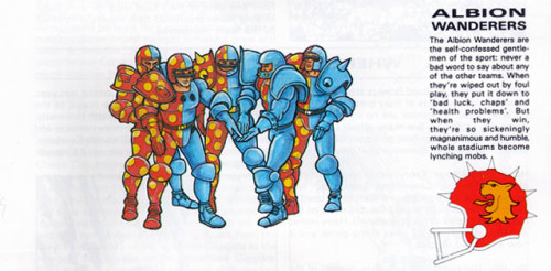 Interior illo, Bloodbowl 2nd Edition. Pete Knifton, 1988. I think somebody at GW circa 1988 was a Black Countryman…