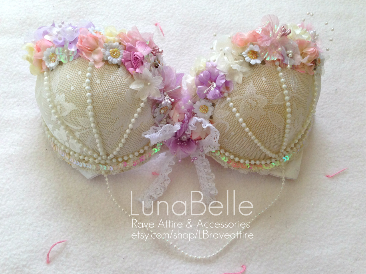 Daisy fairy bra! Perfect for EDC <3  I can make sizes 32A - 34DD and possibly bigger.  Check it out on our etsy: www.etsy.com/shop/LBraveattire