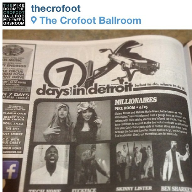 We're in the paper! Come party with us tonight Pontiac! At @TheCrofoot 🍻🎤❤🚌🎶🎀❌⭕ #tonighttour #millionaires (at The Pike Room @ The Crofoot)