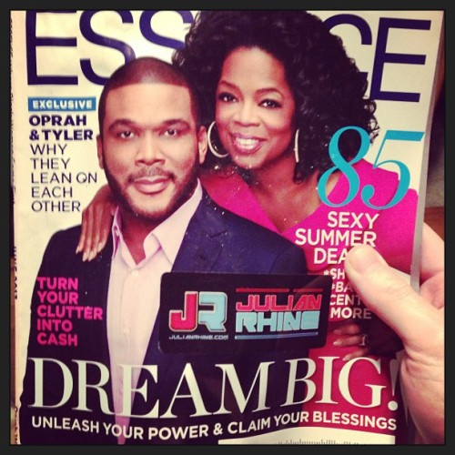 Tyler Perry Presents: Oprah supporting me! #delusionaltuesdays #essence #magazine #oprah #tylerperry #nyc #dream #big #sticker #musicianlife  (at House Bark)