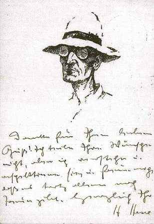 Note and sketch by Hermann Hesse (specterofsexlessappeal: