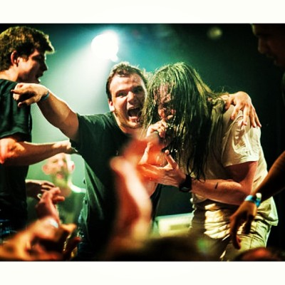 "singing ""pet cemetery"" with @andrewwk: life fulfilling moment. photo by @bendracaglia"