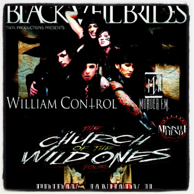BLACK VEIL BRIDES & MURDER FM Destroy San Antonio,TX THIS FRI JAN 11 @ Backstage Live // murderfmmusic.com