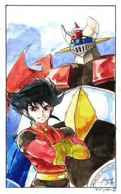 Mazinger Z and Koji Kabuto. Art by Whelljeck.