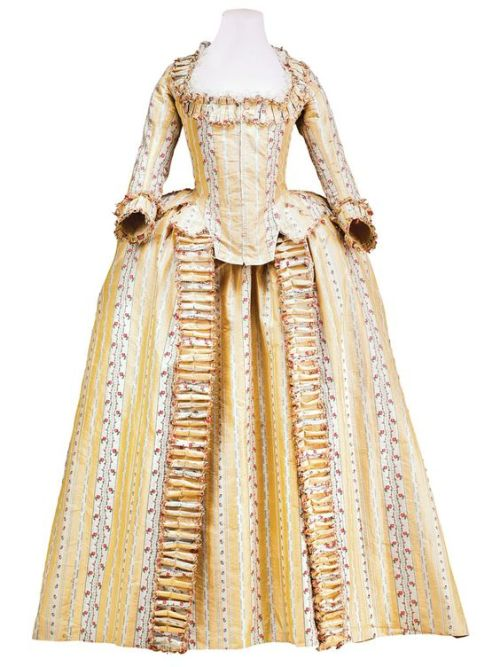 robe a l& 039;anglaise 1780s yellow floral and stripes 18th century fashion 18th century dress georgian fashion georgian era rococo fashion fashion history dress history