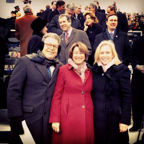 Senator Kirsten Gillibrand looked lovely in our black Drew Coat (alongside Al Franken and Amy Klobuchar) at President Barack Obama's inauguration today!