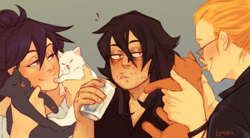 loshka:   drunk aizawa gonna get surprised with kittens