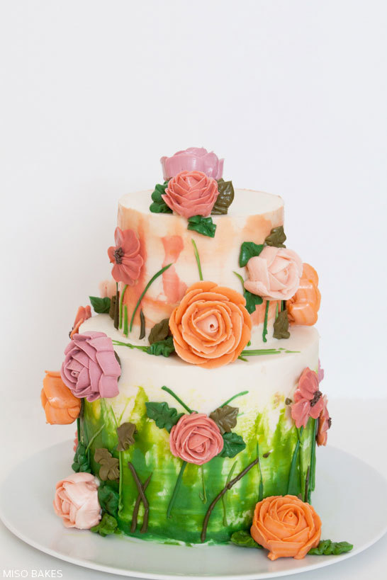 DIY Watercolor Painted Rose Cake