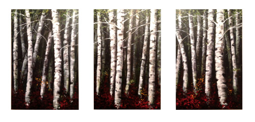 The Birch Grove. Commissioned for the 10'X15' feature wall in the living room of my client's flashy new apartment. Acrylic on canvas (2'X3'each)