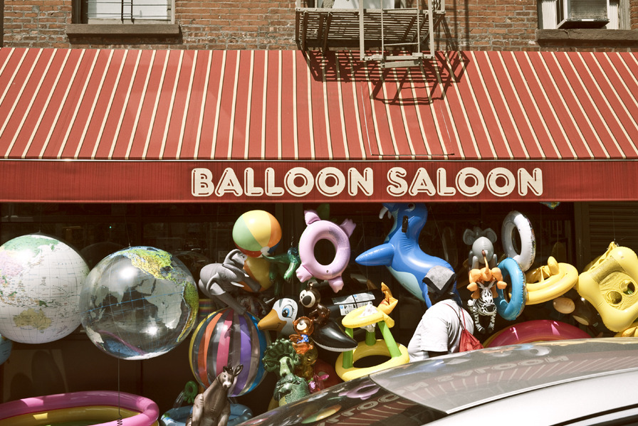newyork:  the balloon saloon in tribeca. inflatable heaven on 133 west broadway. their most popular blow-up is a pug dog.