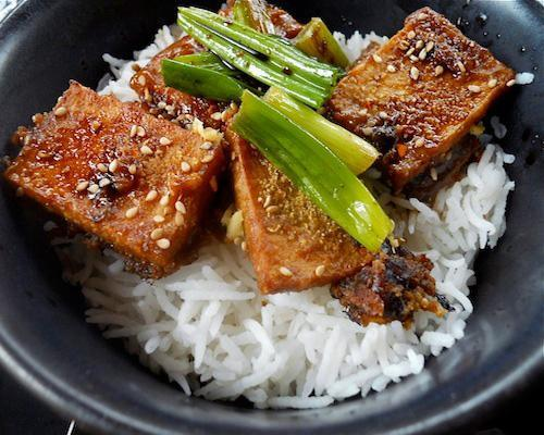 Recipe: Pan Fried Tofu with Peanut Sauce Dense and chewy tofu in caramelized peanut sauce results in deep sighs at the dinner table. Check out more of our tofu dishes for skeptics.