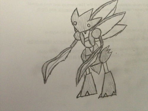 I drew a scyther for you guys while I was bored in class!