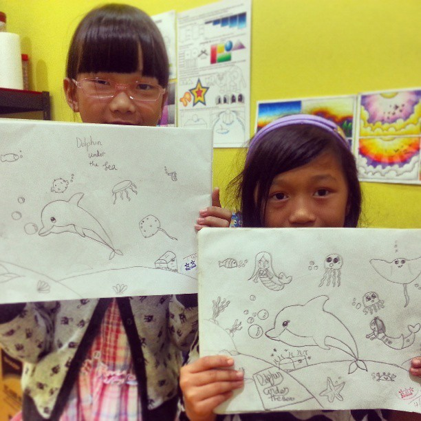 Taught the kids how to draw a dolphin under the sea this week!