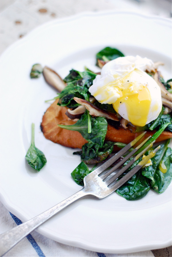 sooothe:  poached duck eggs over shiitake mushrooms and tatsoi: recipe here