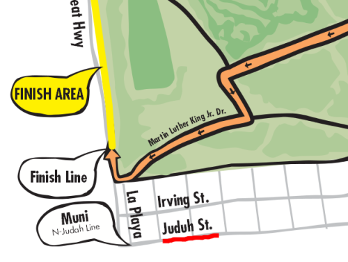 Bay to Breakers has rechristened Judah Street to Juduh Street. Seems about right. Source: http://baytobreakers.com/uploads/pdf/start-finish-map.pdf
