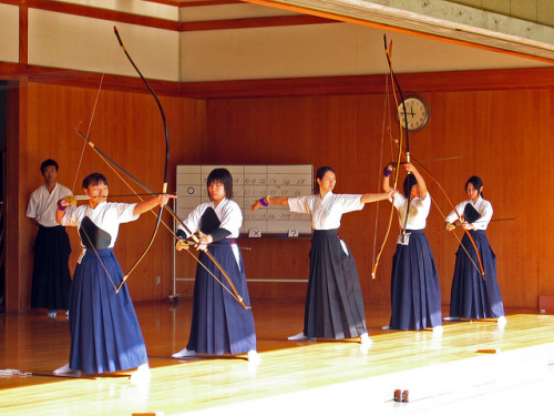 Kyudo girls going through the motions by vfowler on Flickr.