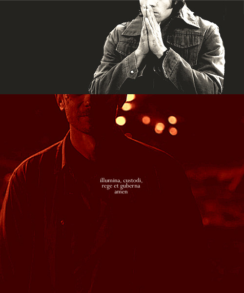 "FYSL Exchange Piece: for defilerwyrm | prompt: prayer  Sam Winchester prayed. He prayed a lot more than your average boy and he prayed about much bigger things. For his dad to stop moving them around, for Dean not to bleed out, for his acceptance letters not to be found. When he started, Sam didn't even know if he had been baptized. If his prayers would go unheard because he was just a lost soul. But they were heard. ""Angel of God, my guardian dear,"" Sam's voice would say quietly, in the motel room's darkness. Loudly, in the cage's darkness. Sam was unsure if he had one of his own. A guardian angel, ""to whom God's love commits me here."" He wanted to hold on desperately to the idea that he wasn't damned. ""Ever this day be at my side."" Though with the powers, with demon blood, with the truth, the notion faded. But the angel, Sam's angel, was released. The earth shook. Heaven prepared for war. ""To light, to guard, to rule and guide."" Sam Winchester had a guardian angel and he would answer Sam's prayer. He would protect him, he would show him to light. The brightest star. He would lead Sam to his greatness. ""Amen."""