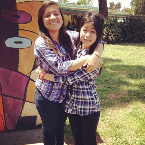 We took a picture because I finally remembered to wear plaid on plaid Wednesday ☺💖 #bhf @xheyitsmari