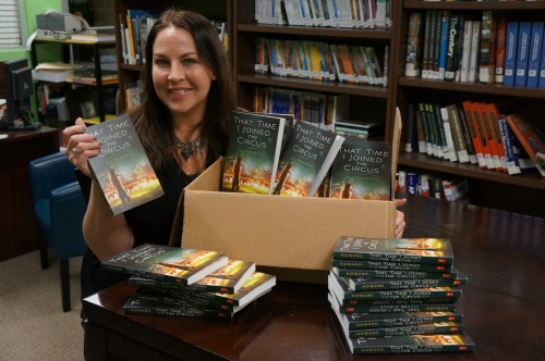 JJ Howard with her book fair copies of That Time I Joined the Circus arrives at my school's book fair!   (from source)
