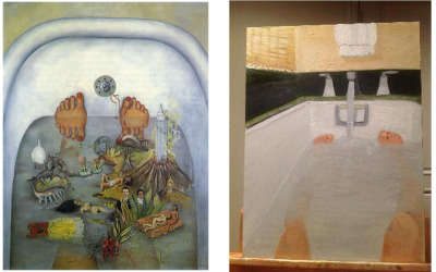 who-wore-it-better:  Frida Kahlo What the Water Gave Me  ::  George W. Bush Bathtub Painting