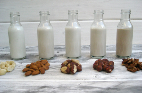 "How to Make Plant-Based ""Milks""  You can make a variety of plant-based ""milks"" by blending raw nuts, seeds, and grains with water. Almonds, cashews, macadamias, Brazil nuts, hazelnuts, pecans, pistachios, coconuts, soybeans, hemp seeds, pumpkin seeds, sunflower seeds, sesame seeds, sacha inchi seeds, flaxseeds, quinoa, millet, rice, and oats can all be liquefied into delicious milks. Homemade milks are fresh, free of additives and preservatives, and you can completely control the integrity of the product: the quality of the ingredients, the sugar levels, and the texture. ""Milking"" raw nuts, seeds, and grains is quick and easy. Here's how to do it: SOAK nuts, seeds, or grains by placing in a bowl with filtered water and a pinch of sea salt. Different foods require different soak times. .Soaking removes enzyme inhibitors, improves digestibility and nutrient bioavailability, and helps everything blend more easily. Rinse thoroughly and drain. BLEND with filtered water. A high-speed machine like a Vitamix is preferable to really pulverize the mixture. A 1:3 ration of nuts/seeds/grains to water generally yields good results. I start with 2 cups of water and gradually add more water until I get the taste and consistency I like. Blend for about 1 minute. This can warm the mixture. Chill in the fridge, or blend with ice to consume immediately. SWEETEN the milk to taste with pitted dates, stevia, maple syrup, agave, honey, coconut sugar, etc. You can also add 1 teaspoon of vanilla extract to boost flavors, and 1 tablespoon of NON-GM soy or sunflower lecithin and coconut butter to emulsify ingredients. You can also jazz up your milks with raw cacao, fruit, cinnamon, nutmeg, or anything else that tickles your fancy. STRAIN Some foods like cashews, macadamias, and pecans yield smooth milks. However, with most other foods, like almonds, you will get some texture. You can enjoy this fibrous milk, or strain it for a smoother, more commercial-style blend. Place a nut milk bag over a large container, pour the milk in, and gently squeeze the bag until all liquid has passed through. You can repurpose the pulp as a body scrub by mixing with some coconut oil, or dehydrate it for use in cookies, crusts, and crackers. ENJOY Most milks will keep in the fridge in a sealed container for two or three days. Freeze any leftovers in ice cube trays for use later. Homemade milks can separate when stored. Just shake or blend again before drinking. Basic Plant-Based ""Milk"" Makes 3-4 cups  milk - 1 cup nuts, grains, or seeds3 cups filtered water3 Tbs. sweetener (such as maple syrup, raw agave, raw honey, coconut sugar), or 3-4 pitted dates, or stevia to taste1 Tbs. coconut butter (optional, for texture)1 Tbs. Non-GM soy or sunflower lecithin (optional, to emulsify and add creaminess)1 tsp. natural vanilla extractPinch of Celtic sea salt (optional, to bring out flavors) 1. Soak nuts, grains, or seeds for desired time. (Get my recommendations for soaking times here.) 2. Drain nuts, grains, or seeds. Rinse, and then place in blender with 3 cups filtered water. Add remaining ingredients, and blend on high until fully liquefied, about 1 minute. 4. If consuming immediately, add a few ice cubes to cool milk. 5. Strain with a nut milk bag, if desired. Milk will keep for two days stored in a sealed glass jar in the fridge.  Here is a handy link on soaking times http://healthyblenderrecipes.com/resources/how_to/#/why-soak-grains-nuts-and-seeds/how-to-soak-whole-grains-nuts-and-seeds Here is the original article http://www.vegetariantimes.com/blog/how-to-make-plant-based-milks/"