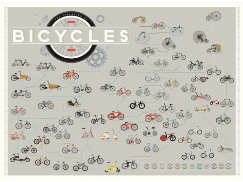The Evolution of Bicycles Poster by Pop Chart Lab. - Kinoko Cycles