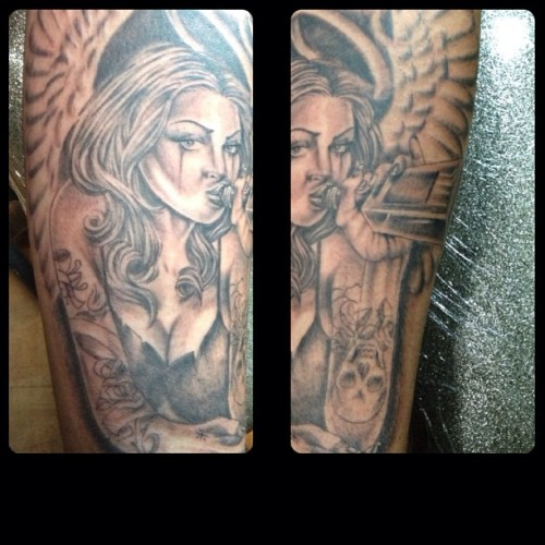 Tonight's tattoo #angelgirl #tattoo #4forty4tattoo #henrytattooer #ogabeldesign