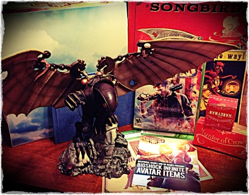 "Bioshock Infinite: Ultimate Songbird Edition for X-Box 360 came a day early from Best Buy, and also came free of charge after a huge computer issue refunded thousands of Best Buy's Bioshock pre-orders. I must say that the ""Handyman Action Figure"" is a bit of a disappointment, as he makes a M.U.S.C.L.E. figure look like a giant.  The Songbird statue is very impressive though, as are the other bonus items."