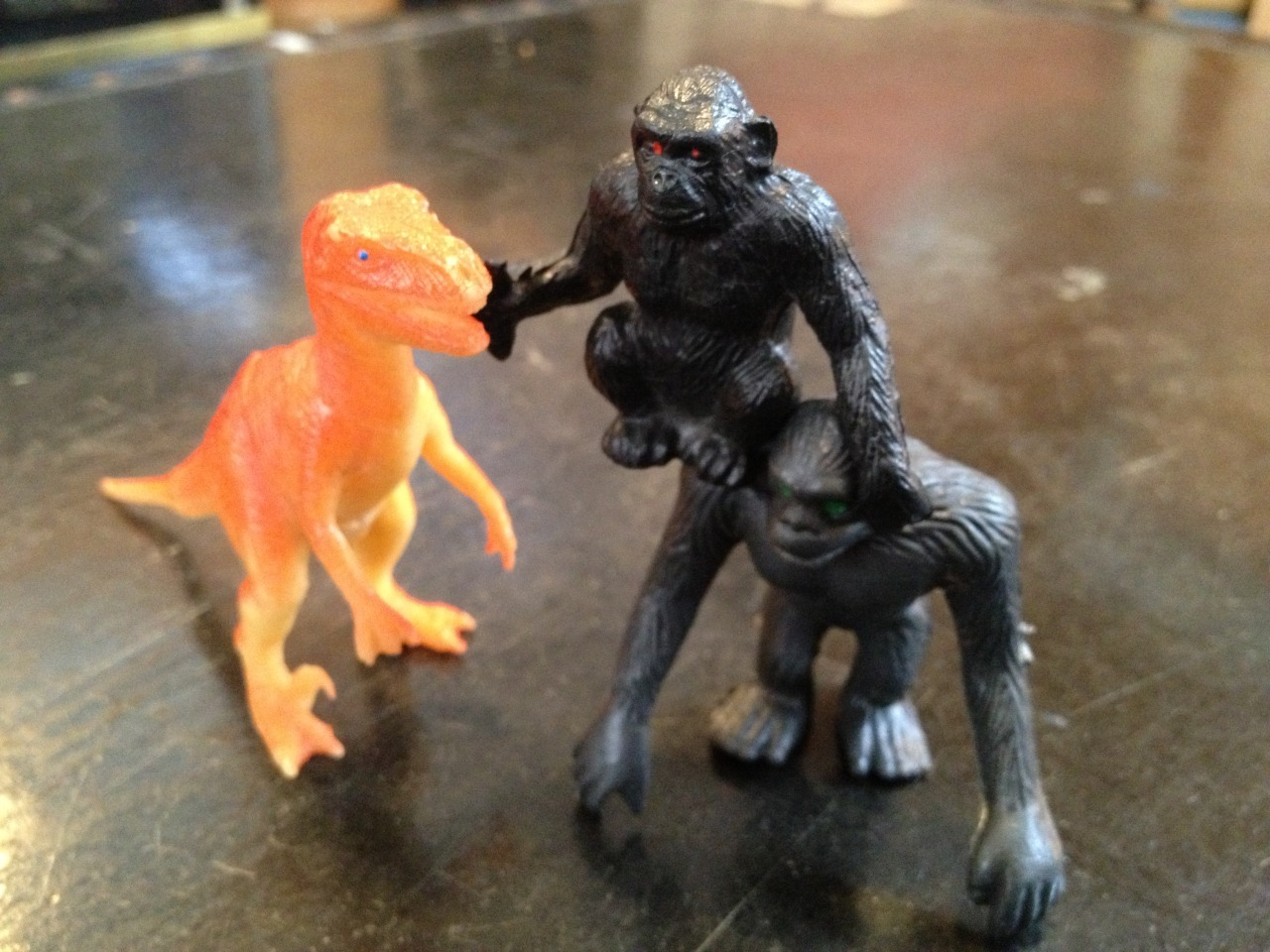 He brought a friend to face the featherless deinonychus! BAM!