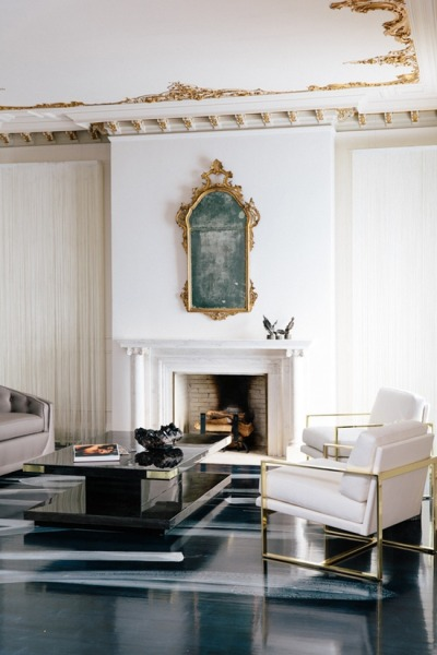 theinsidesource:  Chromed Out  How to make a classic space (complete with gilded rococo detailing) modern? Just add chrome. The sharp and simple lines of the chairs seen here beautifully contrast the organic, curled details on the ceiling above. To avoid being too precious when it comes to decorating, always consider going against type. We trolled through the eBay treasure trove looking for gems. You can find all of our chrome chair findings by clicking here, or check out a few of our favorites below: Pair of Milo Baughman Thayer Coggin Chrome Lounge Chairs ($475) Mid-century Modern Chrome Dining Room Chairs ($165) Pair of Milo Baughman Cube Chairs ($2,599) (Photo courtesy of Small Shop Studio. Text by Jenny Bahn)