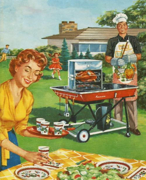 rogerwilkerson:  Let's Cook Outdoors - detail from Sears Kenmore barbecue promotional brochure.   COOKOUT TONIGHT 6PM MY PLACE…YOU'RE ALL INVITED! WHO NEEDS RIDE FROM THE AIRPORT? DONT WANT TO MISS THIS ONE…YOU HEARD THE TALES FROM THE LAST ONE…YUM YUM YUM!