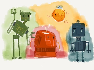 Mr. Roboto and Friends Made with Paper by sounasdesign