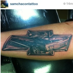 Our homie @samchacontattoo did this #lowrider 1963 #Chevrolet #Impala #tattoo on someone's arm. If YOU got tatted with a car (or car parts), WHAT would you get and WHERE?