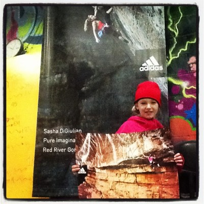 BKBeasts climbathon @Arabella got Sasha's poster!!!!!!!! She so excited!!!! Also, she wears pink.;) (at Brooklyn Boulders)