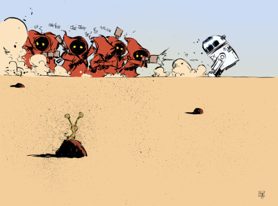 Jawas hunting R2-D2 by Skottie Young