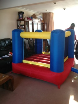 My little sister's bouncing castle. It's going to look so cute in our garden with my giant trampoline and her little cute Minnie bouncing castle