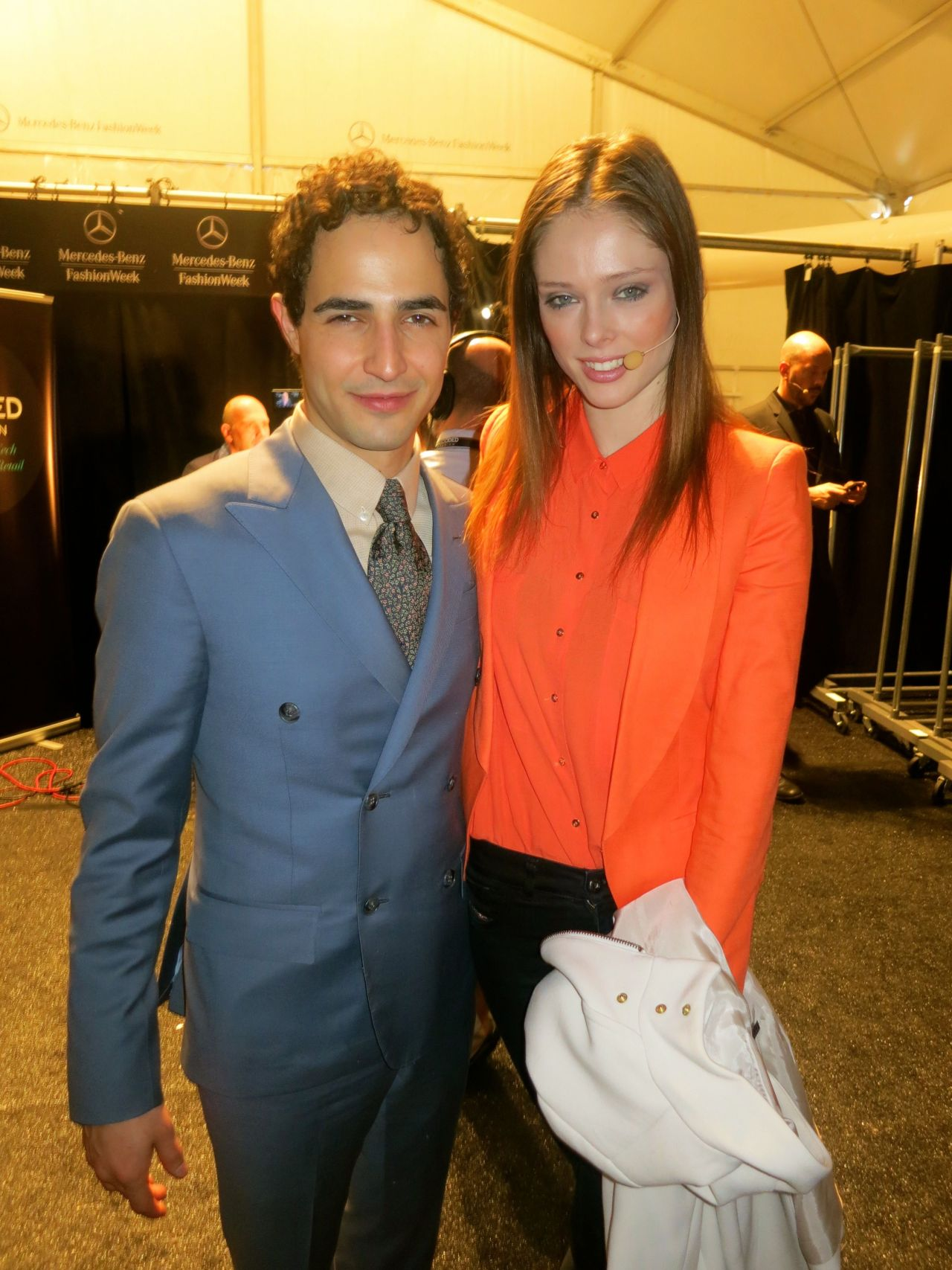 Zac and Coco backstage at Decoded Fashion at Lincoln Center.